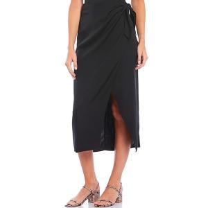 フレンチコネクション レディース スカート ボトムス Gabina Drape Faux Wrap Midi Skirt Black|astyshop