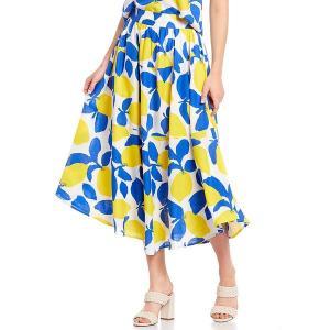 クレミュ レディース スカート ボトムス Sage Lemon Print Midi A-Line Skirt Lemon Print|astyshop