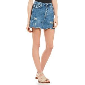フリーピープル レディース スカート ボトムス We the Free Denim A-Line Distressed Mini Skirt Dark Denim|astyshop