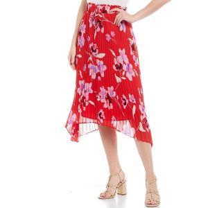 カルバンクライン レディース スカート ボトムス Tossed Floral Print Chiffon Drawstring Waist Pleated Sharkbite Hem Skirt Watermelon/Wisteria Multi|astyshop