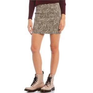 フリーピープル レディース スカート ボトムス Modern Femme Novelty Leopard Print Stretch Denim Mini Skirt Tea Combo|astyshop