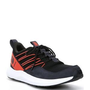 ノースフェイス メンズ スニーカー シューズ Men's Surge Pelham Leather Mesh Sneaker Urban Navy/TNF Black|astyshop