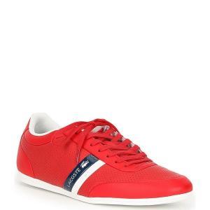 ラコステ メンズ スニーカー シューズ Men's Storda 0120 1 Leather Sneakers Red/Navy|astyshop