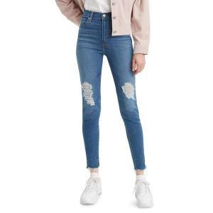 リーバイス レディース デニム ボトムス Distressed Skinny Jeans Storm Blue|astyshop