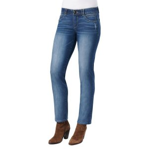 デモクラシー レディース デニム ボトムス Distressed Straight-Leg Jeans Blue|astyshop