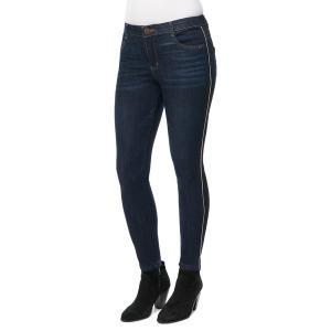 デモクラシー レディース デニム ボトムス Stripe-Taped Skinny Jeans Indigo|astyshop