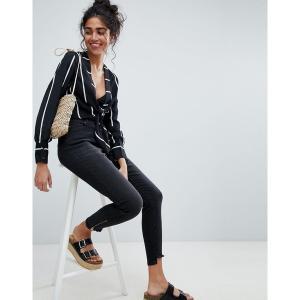 ブルックリンサプライ レディース デニム ボトムス Brooklyn Supply Co Skinny Jeans with Zipped Step Hem Washed black|astyshop