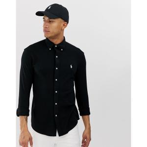 ラルフローレン メンズ シャツ トップス Polo Ralph Lauren player logo pique shirt slim fit buttondown in black Black|astyshop