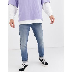 エイソス メンズ デニム ボトムス ASOS DESIGN slim jeans in mid wash blue Mid wash blue|astyshop