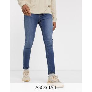 エイソス メンズ デニム ボトムス ASOS DESIGN Tall cropped super skinny jeans in mid wash blue Mid wash blue|astyshop