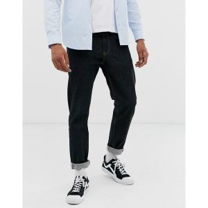 エイソス メンズ デニム ボトムス ASOS DESIGN stretch tapered jeans in flat black Black|astyshop