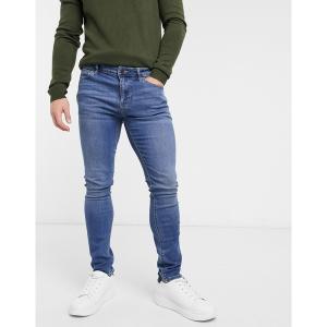 エイソス メンズ デニム ボトムス ASOS DESIGN super skinny jeans in mid wash Mid wash blue|astyshop