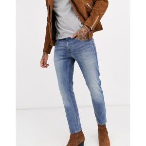 エイソス メンズ デニム ボトムス ASOS DESIGN skinny jeans in mid wash Mid wash blue|astyshop