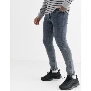リバーアイランド メンズ デニム ボトムス River Island skinny jeans in gray acid wash Gray|astyshop