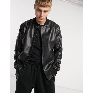 エイソス メンズ ジャケット&ブルゾン アウター ASOS DESIGN faux leather bomber jacket in black Black astyshop