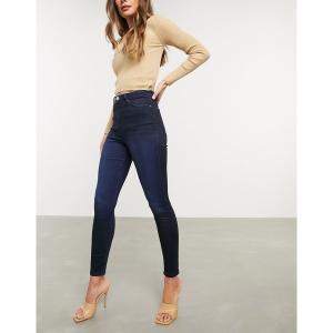 エイソス レディース デニム ボトムス ASOS DESIGN Ridley high waisted skinny jeans in blackened blue wash Blackened blue|astyshop