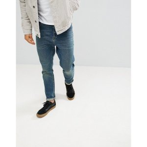 エイソス メンズ デニム ボトムス ASOS DESIGN tapered jeans in vintage dark wash Dark wash vintage|astyshop