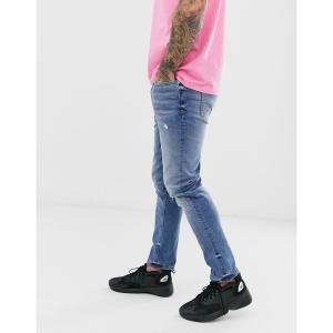 リバーアイランド メンズ デニム ボトムス River Island recycled slim denim jeans in mid blue Mid blue|astyshop