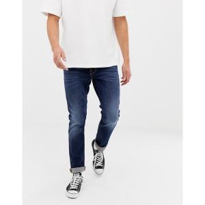 ヌーディージーンズ メンズ デニム ボトムス Nudie Jeans Co Lean Dean slim tapered fit jeans in dark deep worn wash Blue|astyshop