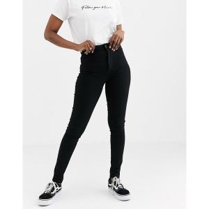 ピーシーズ レディース デニム ボトムス Pieces high waist skinny jean in black Black|astyshop
