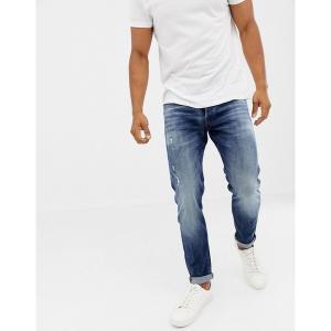 ジャック アンド ジョーンズ メンズ デニム ボトムス Jack & Jones Jeans In Tapered Fit Washed Blue Denim Blue denim|astyshop