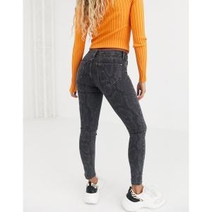 リバーアイランド レディース デニム ボトムス River Island Molly skinny jeans in gray snake print Gray print|astyshop