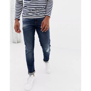 エイソス メンズ デニム ボトムス ASOS DESIGN 12.5oz slim jeans in dark wash with abrasions Indigo|astyshop