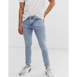 リバーアイランド メンズ デニム ボトムス River Island skinny jeans in light blue wash Light blue|astyshop