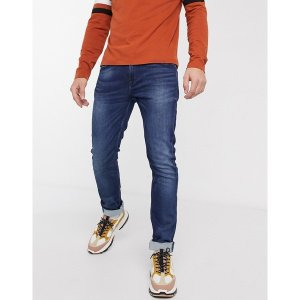 オンリーアンドサンズ メンズ デニム ボトムス Only & Sons slim fit whiskered sweat jeans in blue Blue denim|astyshop
