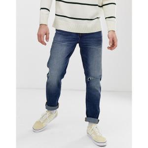 エイソス メンズ デニム ボトムス ASOS DESIGN slim jeans in dark wash blue with busted knee rip Dark wash blue|astyshop