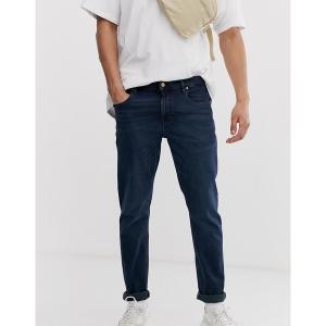 エイソス メンズ デニム ボトムス ASOS DESIGN stretch slim jeans in blue black wash Dark wash blue|astyshop