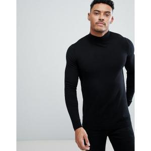 エイソス メンズ ニット、セーター アウター ASOS DESIGN muscle fit turtleneck sweater in black Black astyshop