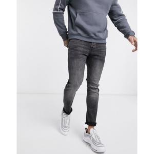 ジャック アンド ジョーンズ メンズ デニム ボトムス Jack & Jones slim tapered fit jeans in black wash Black denim|astyshop