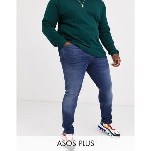 エイソス メンズ デニム ボトムス ASOS DESIGN Plus super skinny jeans in dark wash Dark wash blue|astyshop