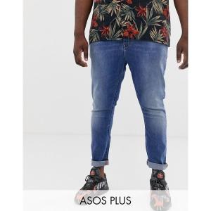エイソス メンズ デニム ボトムス ASOS DESIGN Plus spray on jeans in power stretch denim in mid wash blue Mid wash blue|astyshop