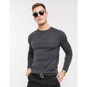 エイソス メンズ ニット、セーター アウター ASOS DESIGN knitted muscle fit crew neck sweater in charcoal Charcoal astyshop