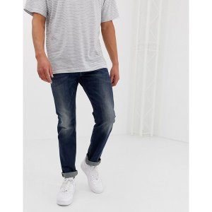 ディーゼル メンズ デニム ボトムス Diesel Belther regular slim fit jeans in 0814W mid dark wash Blue|astyshop