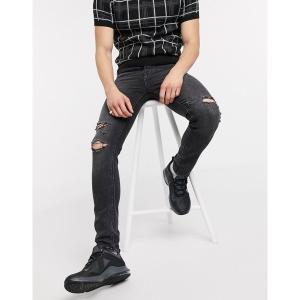 エイソス メンズ デニム ボトムス ASOS DESIGN super skinny jeans in washed black with knee rips Washed black|astyshop