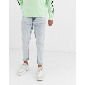 エイソス メンズ デニム ボトムス ASOS DESIGN tapered jeans in bleach acid wash Blue acid|astyshop