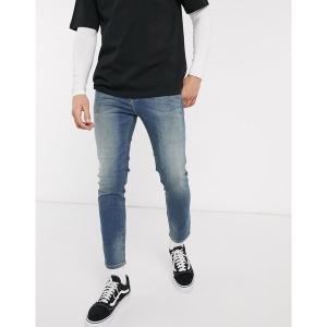エイソス メンズ デニム ボトムス ASOS DESIGN ankle grazer skinny jeans in dark wash blue green cast Dark wash blue|astyshop
