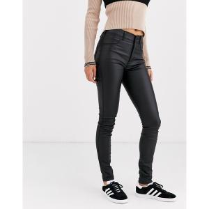 ドクターデニム レディース デニム ボトムス Dr Denim Solitaire super high waist leather look super skinny jean Black metal a09|astyshop