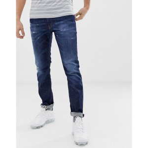 ディーゼル メンズ デニム ボトムス Diesel Thommer stretch slim fit jeans in 0878N mid dark wash Blue|astyshop