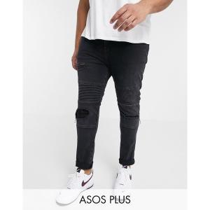エイソス メンズ デニム ボトムス ASOS DESIGN Plus Super Skinny Jeans With Abrasions In Biker Style Black|astyshop