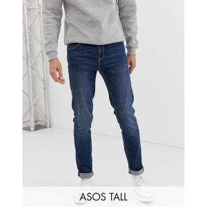 エイソス メンズ デニム ボトムス ASOS DESIGN Tall skinny jeans in dark wash Dark wash blue|astyshop