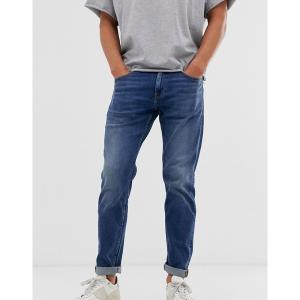 エイソス メンズ デニム ボトムス ASOS DESIGN stretch tapered jeans in dark wash blue Dark wash blue|astyshop