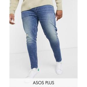 エイソス メンズ デニム ボトムス ASOS DESIGN Plus skinny 'american classic' jeans in mid wash blue with abrasions and raw hem Mid wash blue|astyshop