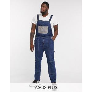 エイソス メンズ デニム ボトムス ASOS DESIGN Plus worker denim overalls in dark wash blue with check pockets Dark wash blue|astyshop