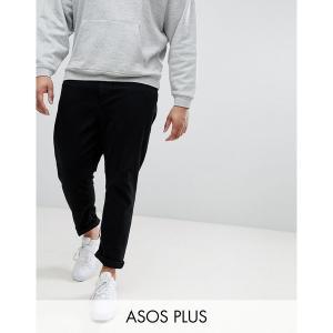 エイソス メンズ デニム ボトムス ASOS DESIGN Plus tapered jeans in black Black|astyshop