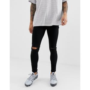 エイソス メンズ デニム ボトムス ASOS DESIGN spray on jeans in power stretch denim in black with knee rip Black|astyshop