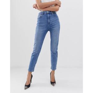 エイソス レディース デニム ボトムス ASOS DESIGN Farleigh high waisted slim mom jeans in light stone wash Prince wash|astyshop